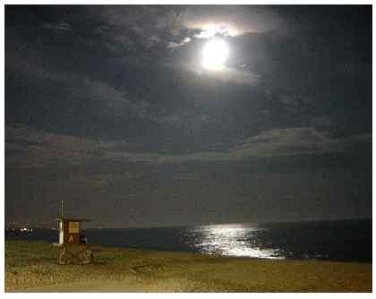 Una playa de noche